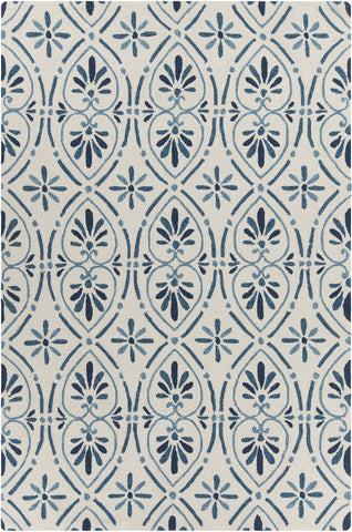 Terra Collection Hand-Tufted Area Rug in Cream & Blue design by Chandra rugs