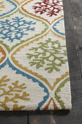 Terra Collection Hand-Tufted Area Rug in Cream, Blue, Green, & Red design by Chandra rugs