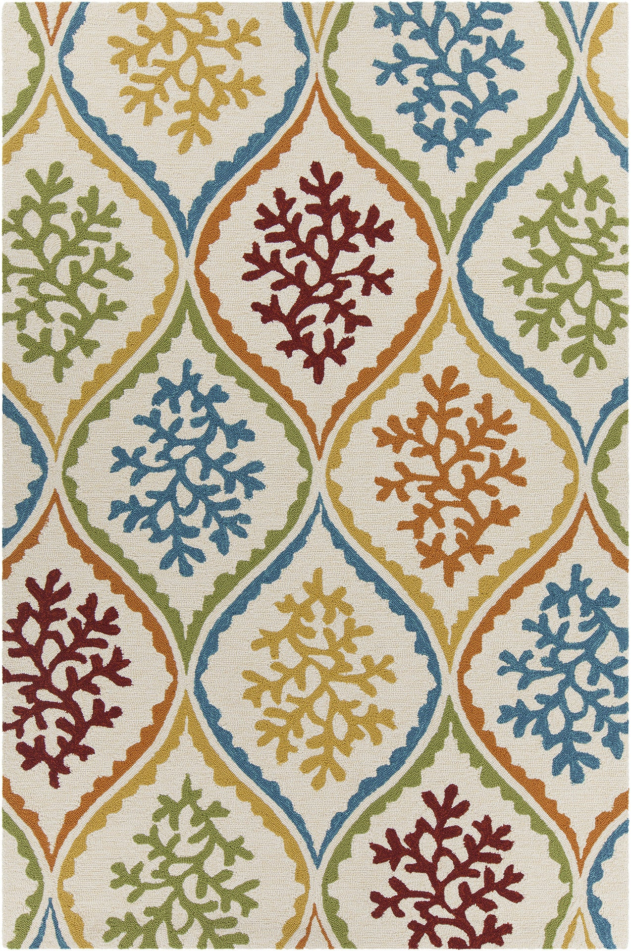 Terra Collection Hand Tufted Area Rug In Cream Blue Green Red