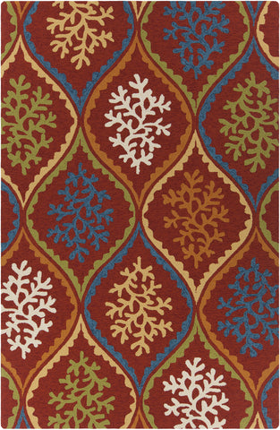 Terra Collection Hand-Tufted Area Rug in Red, Blue, Orange, & Cream design by Chandra rugs