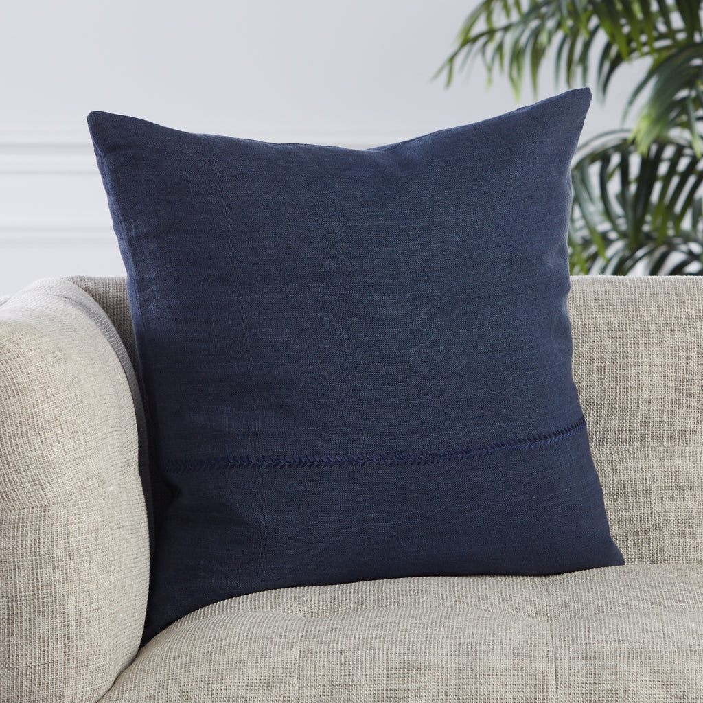 Ortiz Solid Dark Blue Pillow by Jaipur Living