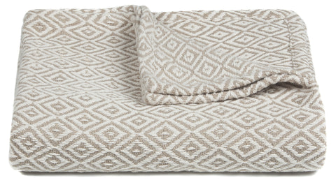 Lia Collection Throw in Beige & White