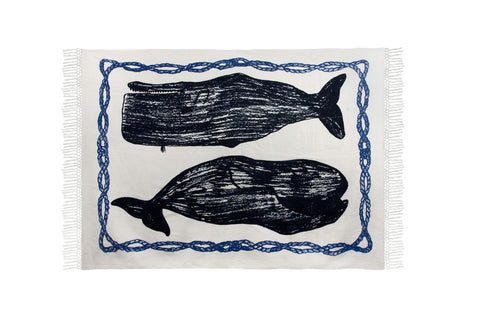 Whale Sketch Cotton Throw design by Thomas Paul