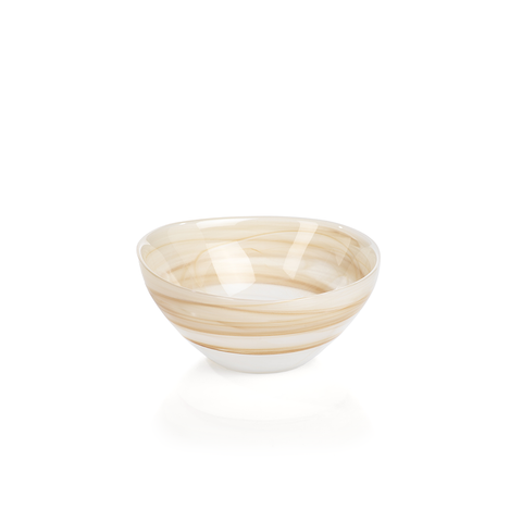 Mallorca Free Flow Alabaster Glass Bowl - Sand, in Various Sizes