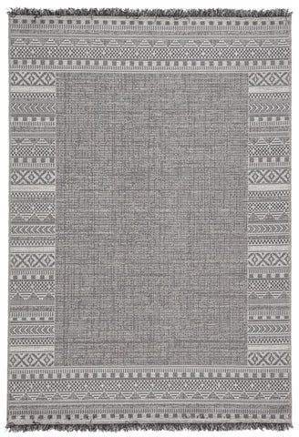 Kiyan Indoor/ Outdoor Border Gray/ Light Gray Rug by Jaipur Living
