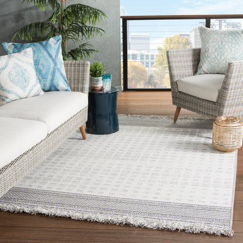 Marion Indoor/ Outdoor Border Gray/ Light Gray Rug by Jaipur Living