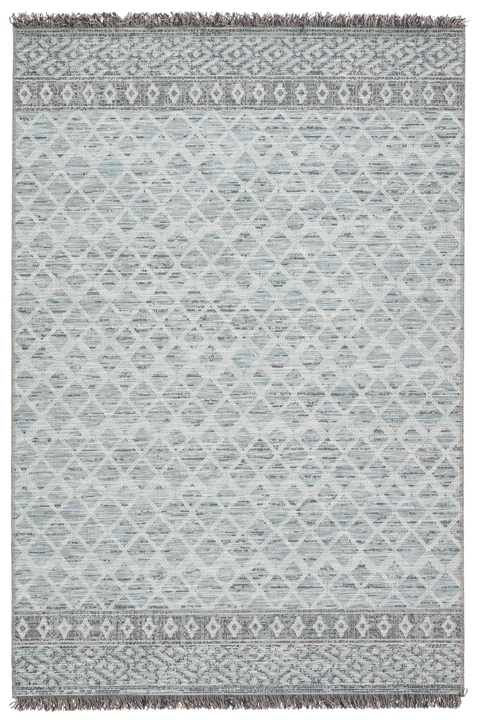 Ravi Indoor/ Outdoor Border Gray/ Light Blue Rug by Jaipur Living
