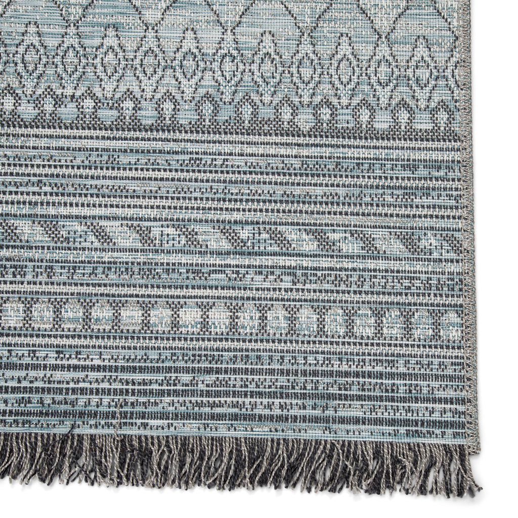 Rao Indoor/ Outdoor Border Gray/ Light Blue Rug by Jaipur Living
