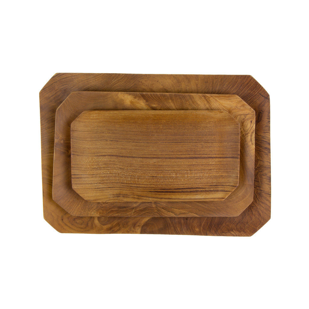 Teak Root Bevelled Tray in Various Sizes by Sir/Madam