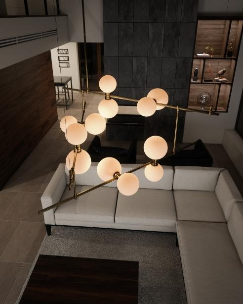 24V Surface Canopy Glass Orbs ModernRail Chandelier 2 by Tech Lighting