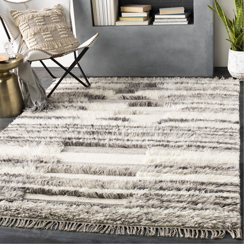Tulum TMU-2301 Hand Woven Rug in Cream & Light Gray by Surya