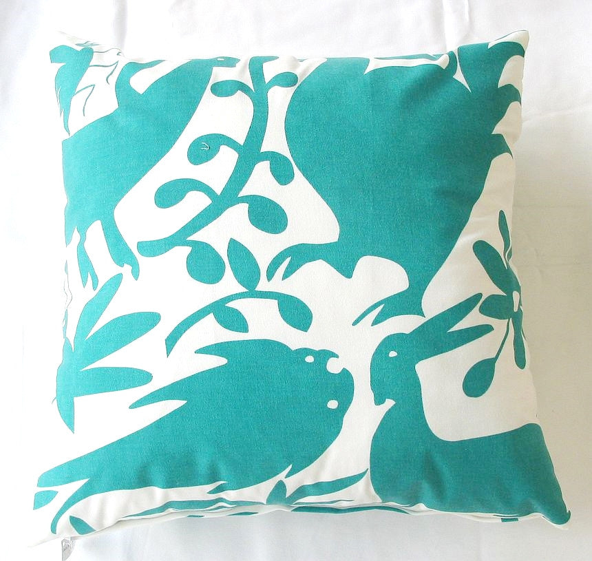 Turquoise Otomi Pillow design by 5 Surry Lane