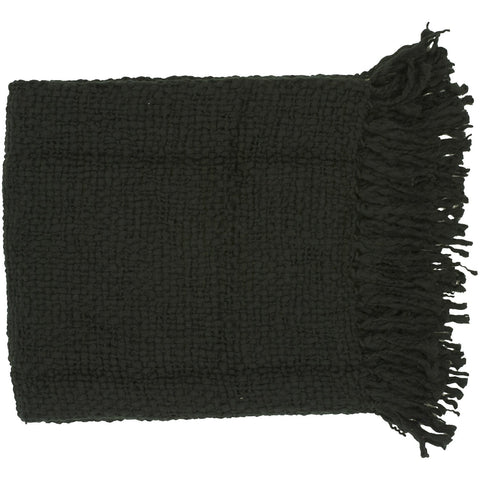 Tobias TOB-1002 Woven Throw in Black by Surya