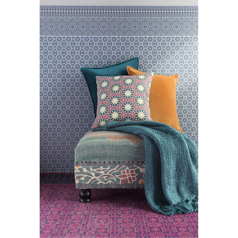 Tobias TOB-1010 Woven Throw in Teal by Surya