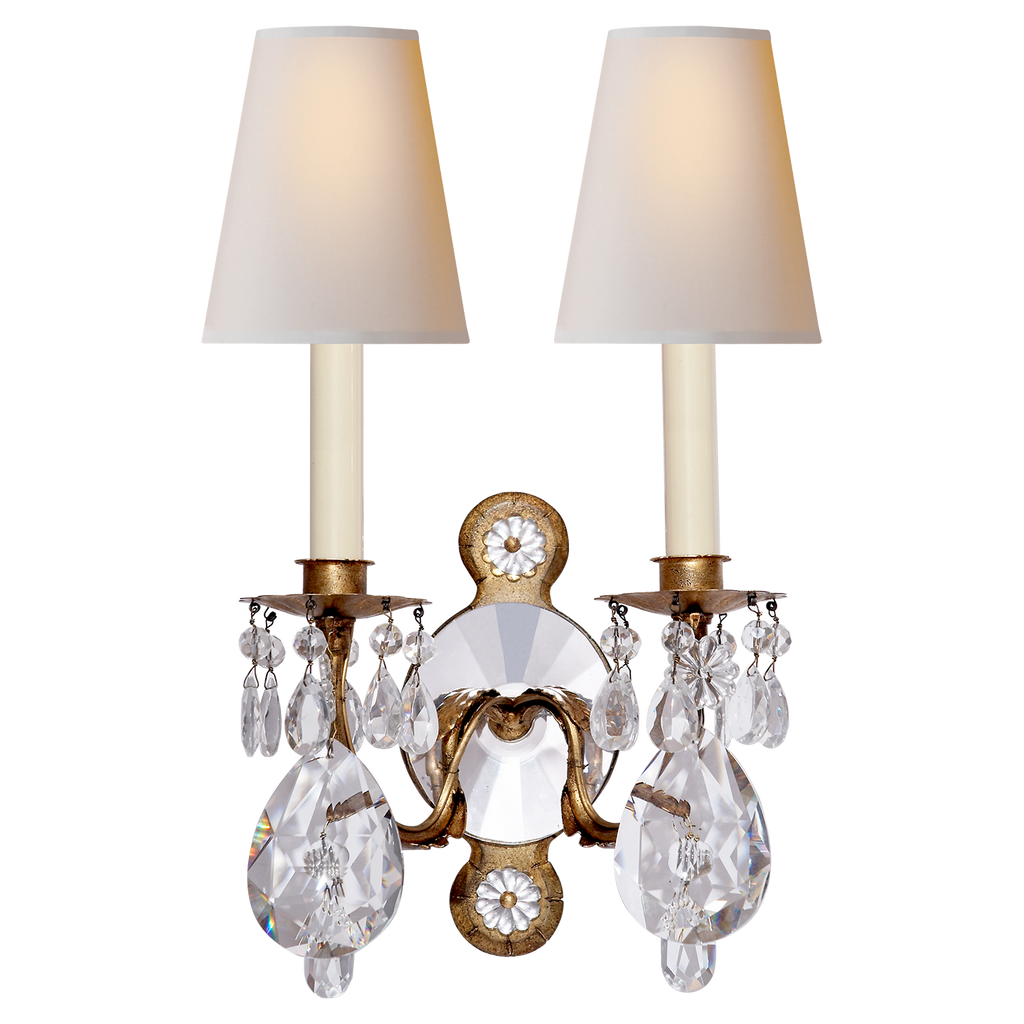 Yves Crystal Double Arm Sconce by Thomas O'Brien