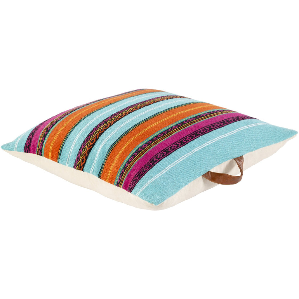 Toluca TOU-002 Hand Woven Pillow in Aqua & Bright Pink by Surya