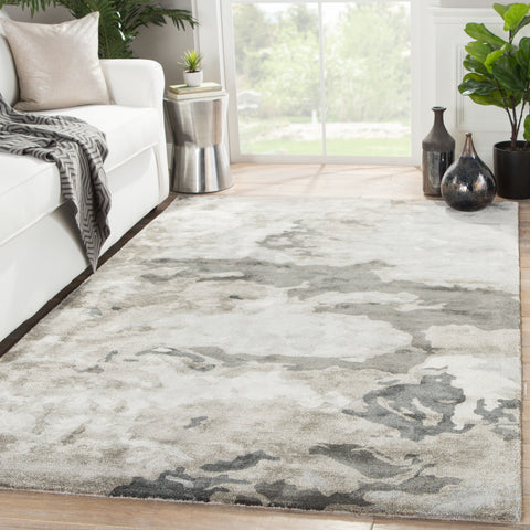 Glacier Handmade Abstract Gray & Silver Area Rug