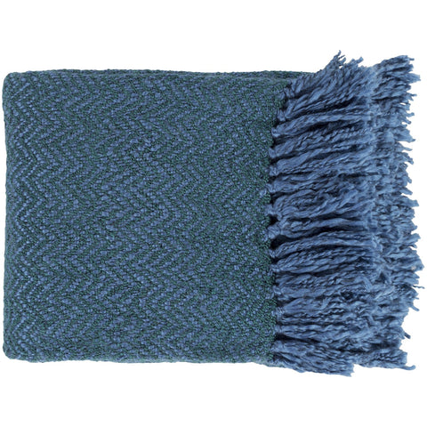 Trina TRR-4003 Woven Throw in Bright Blue & Dark Green by Surya