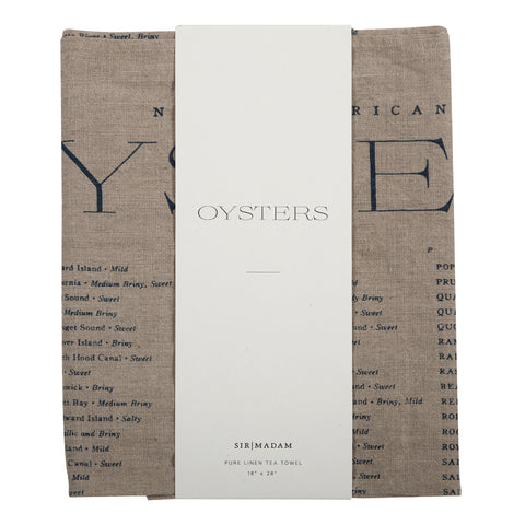 Oyster List Tea Towel design by Sir/Madam