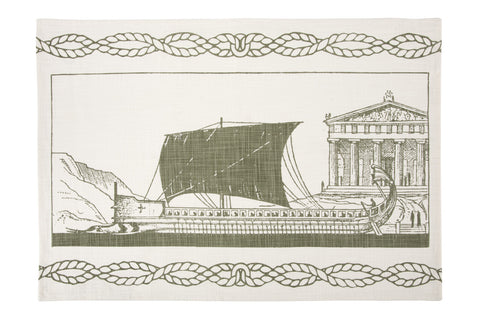 Grecian Ship Tea Towel design by Thomas Paul