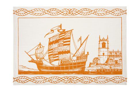 Spanish Ship Tea Towel design by Thomas Paul