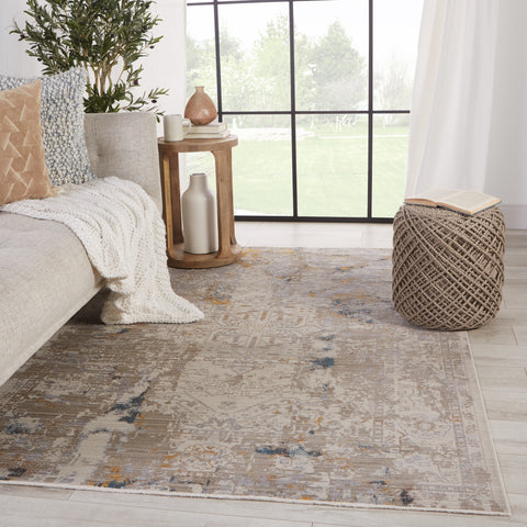 Hammon Abstract Rug in Gray & Gold by Jaipur Living
