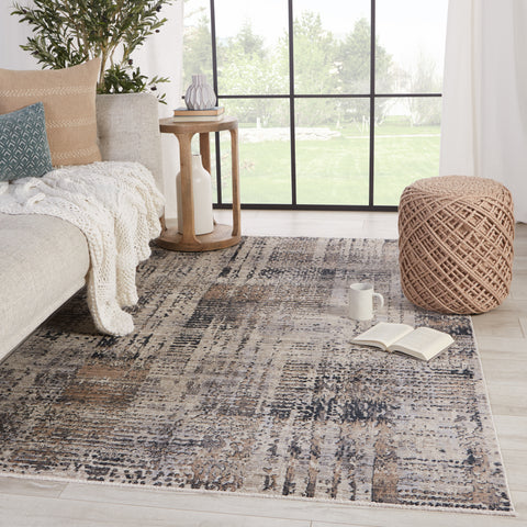 Damek Abstract Rug in Gray & Taupe by Jaipur Living