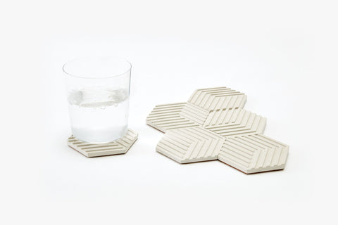 Concrete Table Tiles in Natural White design by Areaware