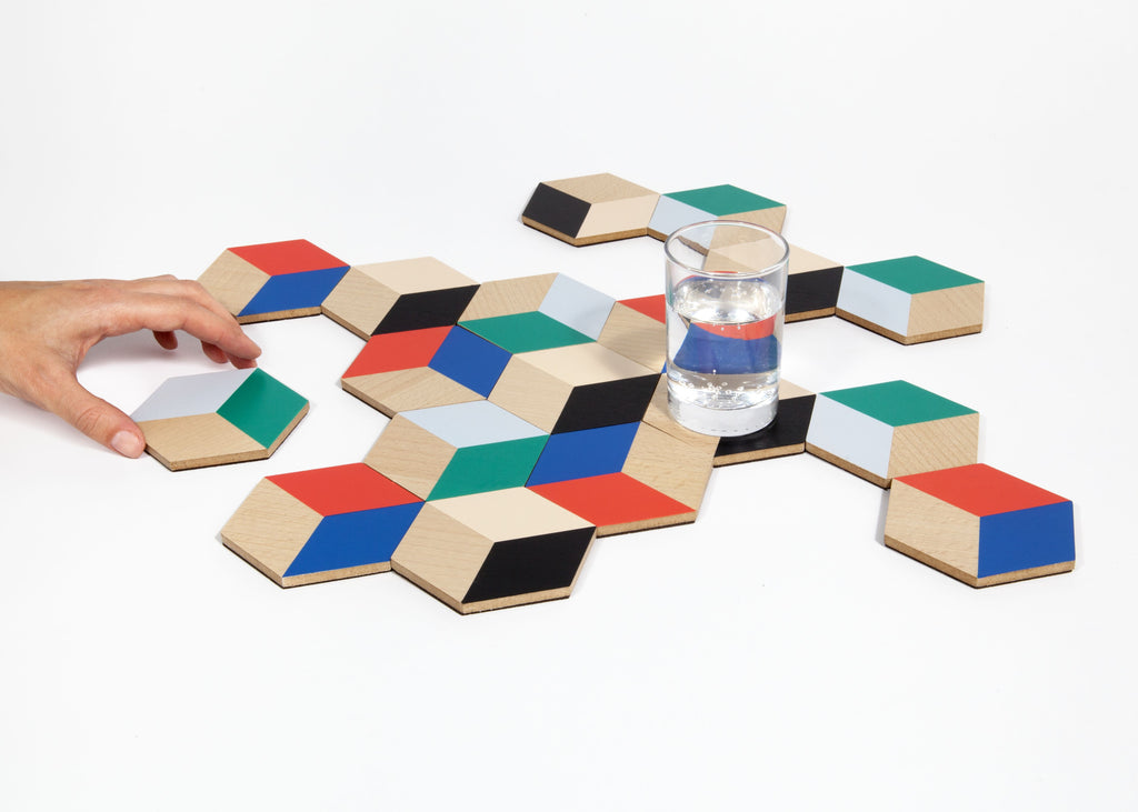 Set of 6 Table Tiles in Various Colors design by Areaware