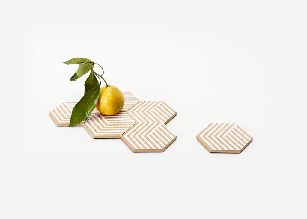 Set of 6 Table Tiles Optic in Various Colors design by Areaware