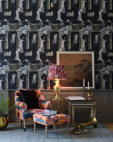 Tales of Mythology Wallpaper in Indigo and Grey from the Wallpaper Compendium Collection by Mind the Gap