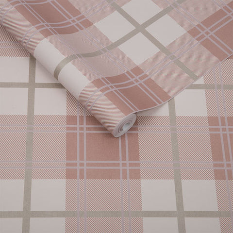 Tartan Wallpaper in Pink from the Exclusives Collection by Graham & Brown