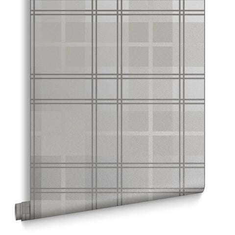 Tartan Wallpaper in Silver from the Exclusives Collection by Graham & Brown