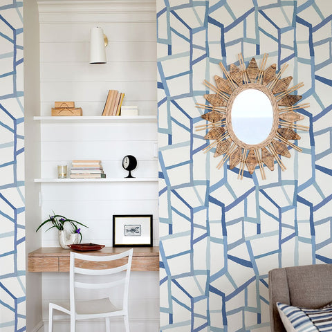 Tate Geometric Linen Wallpaper in Blue from the Bluebell Collection by Brewster Home Fashions