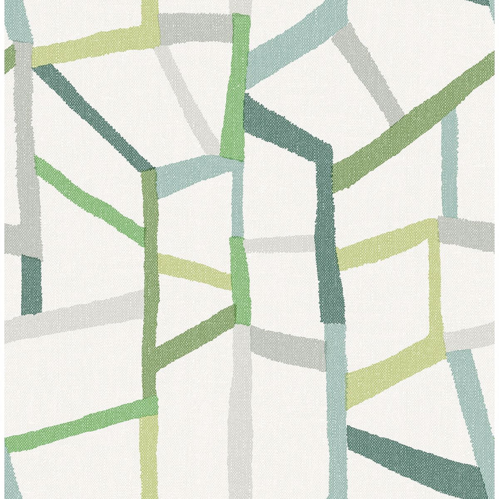 Tate Geometric Linen Wallpaper in Green from the Bluebell Collection by Brewster Home Fashions