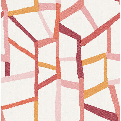 Tate Geometric Linen Wallpaper in Pink from the Bluebell Collection by Brewster Home Fashions