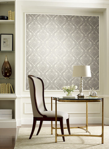 Tattersall Damask Wallpaper in Gold and Grey by Antonina Vella for York Wallcoverings