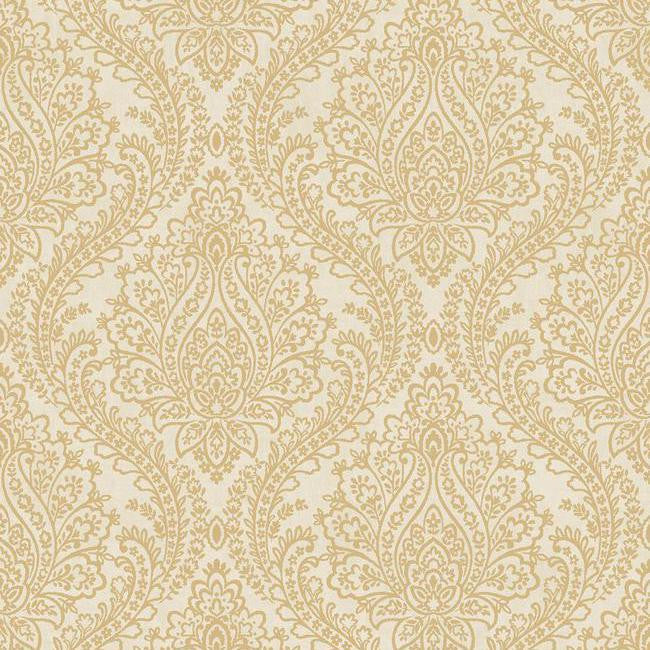 Sample Tattersall Damask Wallpaper in Gold and Neutrals by Antonina Vella for York Wallcoverings