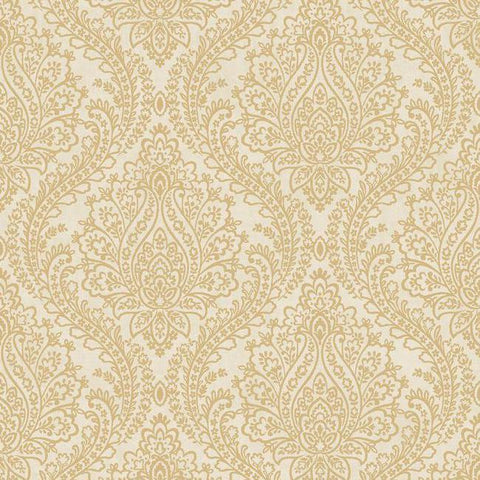 Tattersall Damask Wallpaper in Gold and Neutrals by Antonina Vella for York Wallcoverings