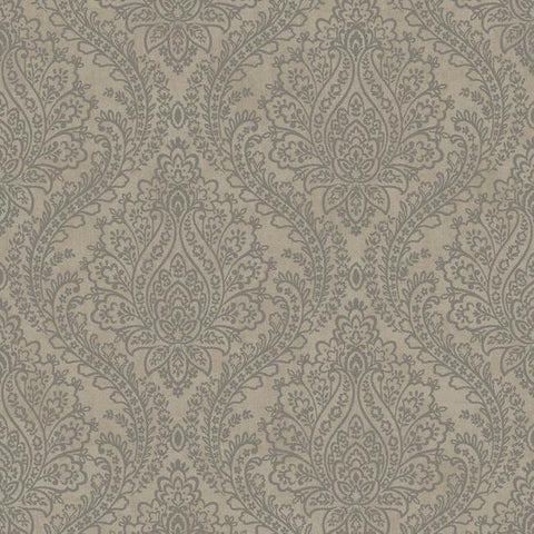 Tattersall Damask Wallpaper in Silver by Antonina Vella for York Wallcoverings