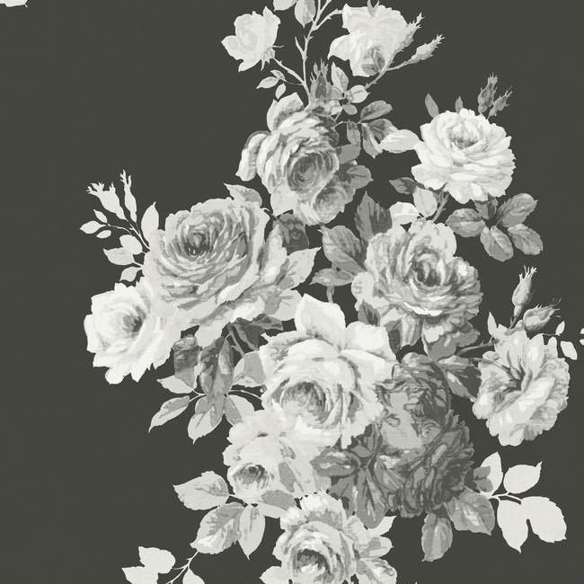 Tea Rose Wallpaper In Black And White From Magnolia Home