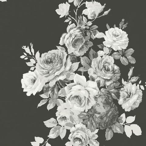 Tea Rose Wallpaper in Black and White from Magnolia Home Vol. 2 by Joanna Gaines