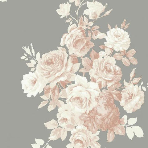 Tea Rose Wallpaper in Blush and Grey from Magnolia Home Vol. 2 by Joanna Gaines