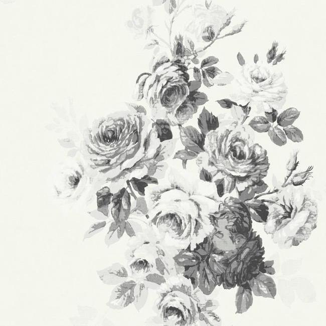 Tea Rose Wallpaper in White and Black from Magnolia Home Vol. 2 by Joanna Gaines