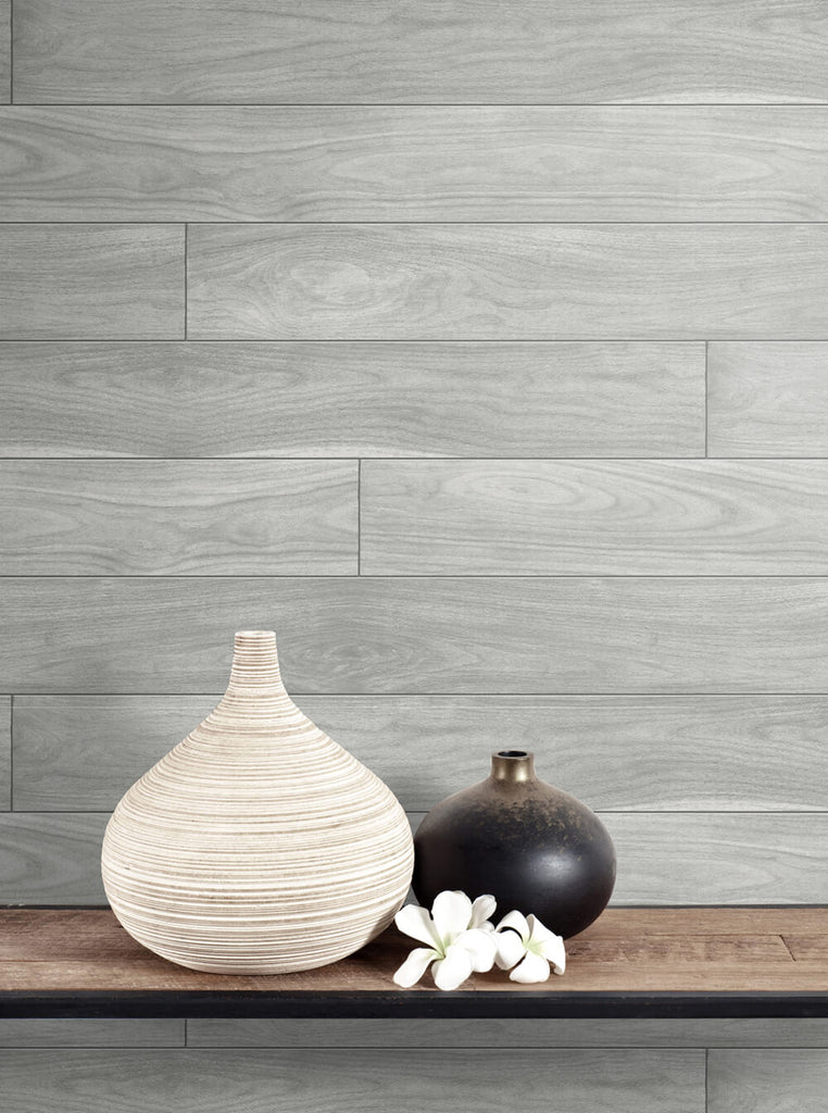 Teak Planks Peel-and-Stick Wallpaper in Grey by NextWall