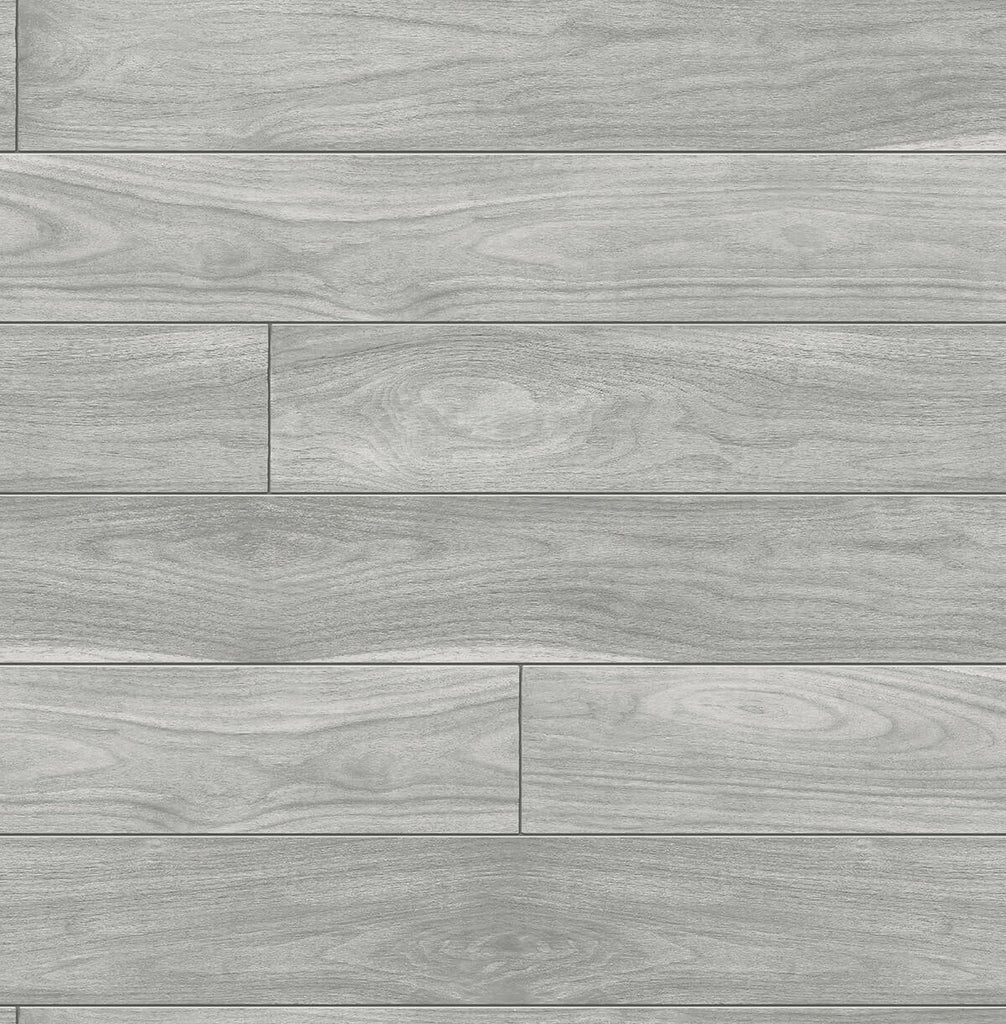 Sample Teak Planks Peel-and-Stick Wallpaper in Grey by NextWall