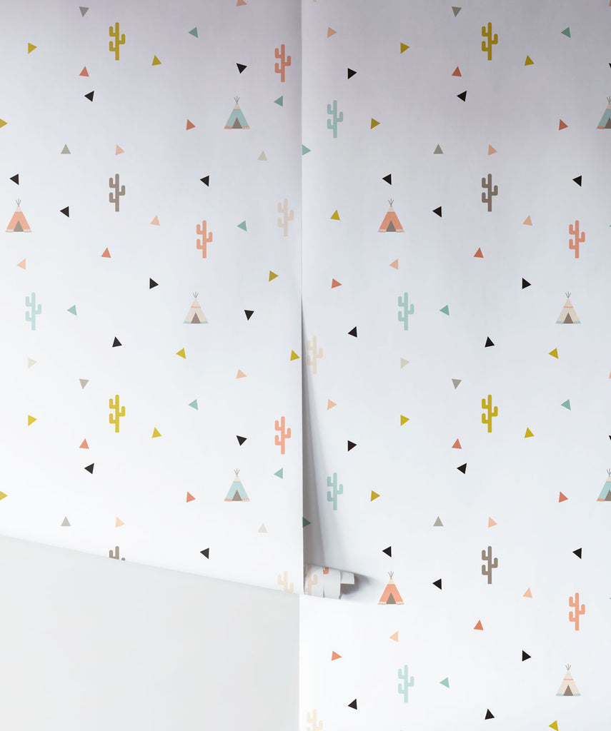 Teepee & Cactus Wallpaper from the Muffin & Mani Collection by Milton & King