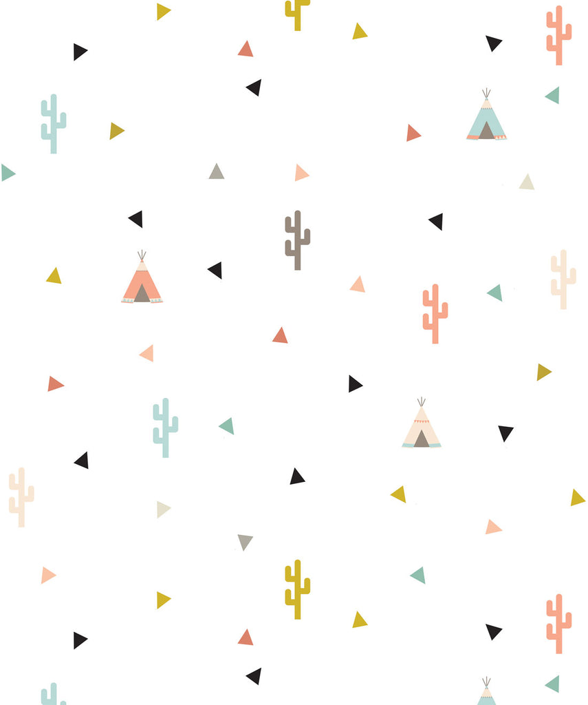 Sample Teepee & Cactus Wallpaper from the Muffin & Mani Collection by Milton & King