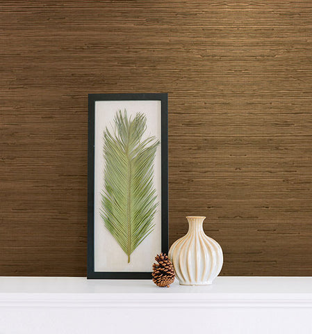 Tereza Copper Foil Grasscloth Wallpaper from the Jade Collection by Brewster Home Fashions