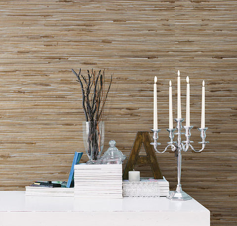 Tereza Silver Foil Grasscloth Wallpaper from the Jade Collection by Brewster Home Fashions
